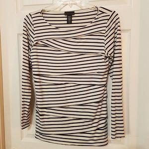 Apostrophe Striped Top cream Black Long Sleeve